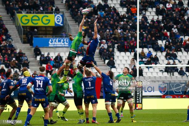 Dylan JACQUOT of Grenoble during the Pro D2 match between FC Grenoble Rugby and US Montauban on November 17, 2019 in Grenoble, France.