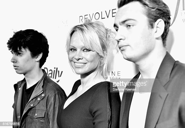 Dylan Jagger Lee actress Pamela Anderson and Brandon Thomas Lee attend The Daily Front Row Fashion Los Angeles Awards 2016 at Sunset Tower Hotel on...