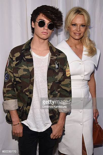 Dylan Jagger Lee and Pamerla Anderson pose backstage at the Christian Siriano fashion show during New York Fashion Week The Shows at ArtBeam on...
