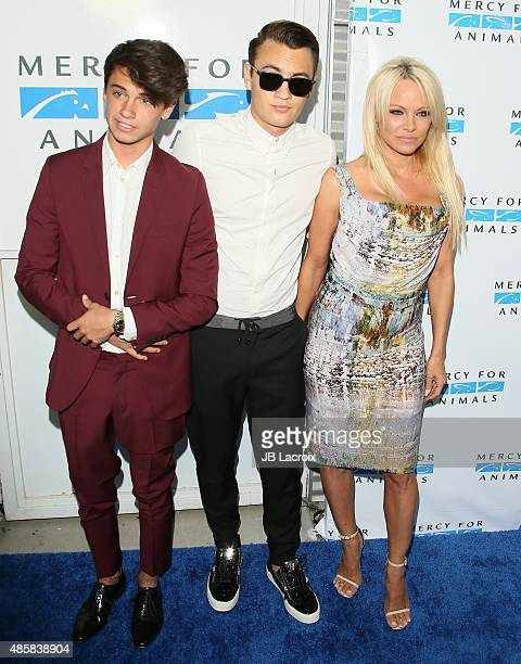 Dylan Jagger Lee Brandon Thomas Lee and Pamela Anderson attend The Hidden Heroes Gala presented by Mercy For Animals at Unici Casa on August 29 2015...