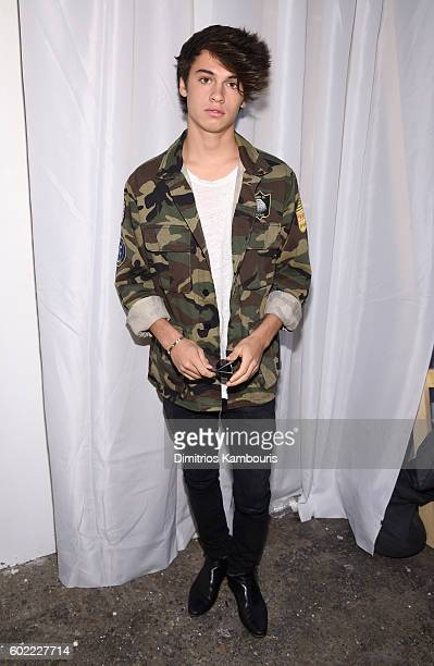 Dylan Jagger Lee poses backstage at the Christian Siriano fashion show during New York Fashion Week The Shows at ArtBeam on September 10 2016 in New...