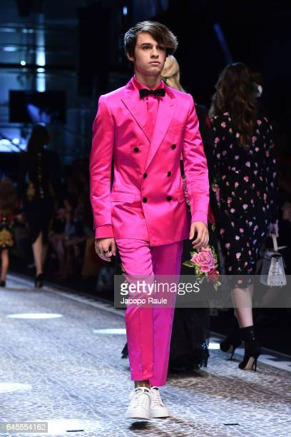 Dylan Jagger Lee walks the runway at the Dolce Gabbana show during Milan Fashion Week Fall/Winter 2017/18 on February 26 2017 in Milan Italy