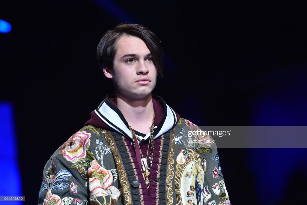 Dylan Jagger Lee walks the runway at the Dolce & Gabbana show during Milan Men's Fashion Week Fall/Winter 2018/19 on January 13, 2018 in Milan, Italy.