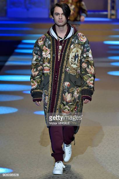 Dylan Jagger Lee walks the runway at the Dolce Gabbana show during Milan Men's Fashion Week Fall/Winter 2018/19 on January 13 2018 in Milan Italy