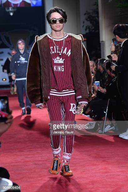 Dylan Jagger Lee walks the runway at the Dolce Gabbana Unexpected Show show during Milan Men's Fashion Week Fall/Winter 2018/19 on January 13 2018 in...