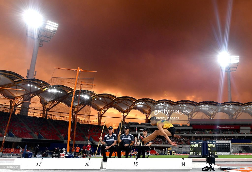 Dylan Johnson competes in the final of the Men's triple jump event during the Australian Athletics Championships & Nomination Trials at Carrara Stadium on February 16, 2018 in Gold Coast, Australia.