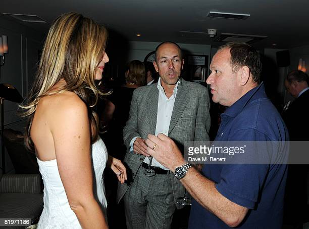 Dylan Jones and Celia Walden with Gary Farrow attend the book launch of 'Harm's Way' written by Celia Walden at Soho House on July 17 2008 in London...