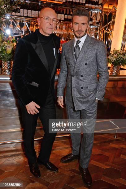 Dylan Jones and David Beckham attend the GQ dinner hosted by Dylan Jones and David Beckham to celebrate London Fashion Week Men's January 2019 at...