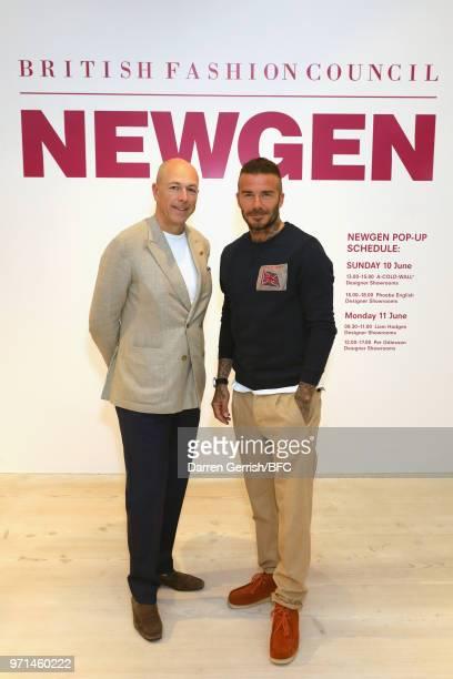 Dylan Jones and David Beckham attend the NEWGEN LFWM June 2018 Breakfast during London Fashion Week Men's June 2018 at the BFC Designer Showrooms on...