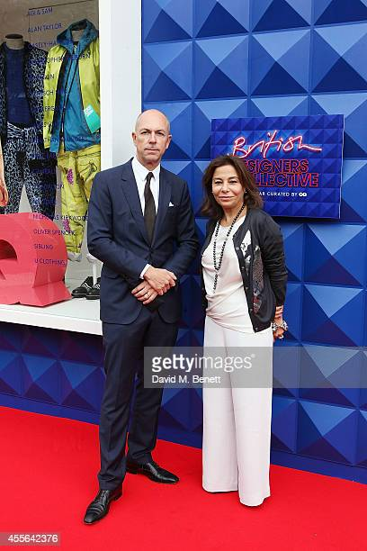 Dylan Jones and Desiree Bolier attend the official opening of British Designers' Collective Menswear curated by GQ at Bicester Village on September...