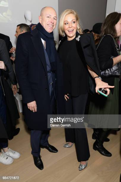 Dylan Jones and Nadja Swarovski attend Atelier Swarovski 10th Anniversary Book Launch at Phillips Gallery on March 19 2018 in London England