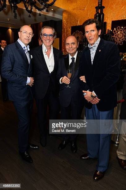Dylan Jones Angelo Galasso Bruno Vespa and Geoffrey Moore attend the Vespa wine presentation hosted by Angelo Galasso and Dylan Jones at the Baglioni...