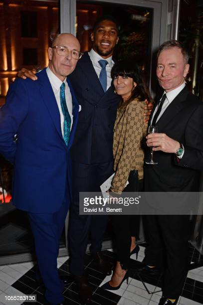 Dylan Jones Anthony Joshua Claudia Winkleman and Tony Parsons attend the GQ 30th anniversary party at SUSHISAMBA Covent Garden on October 29 2018 in...