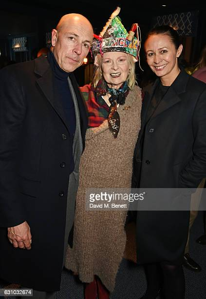 Dylan Jones Dame Vivienne Westwood and Caroline Rush attend a dinner hosted by Dame Vivienne Westwood and The British Fashion Council to celebrate...