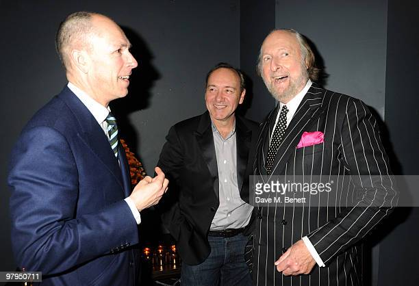 Dylan Jones Kevin Spacey and Ed Victor attend the W Doha 1st birthday celebration in partnership with The Old Vic at Chinawhite on March 22 2010 in...