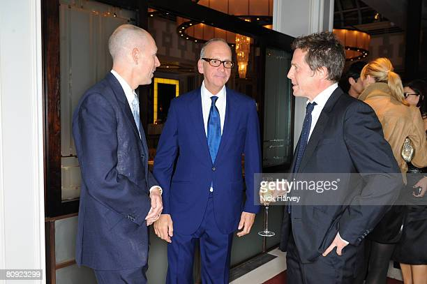 Dylan Jones Richard James and Hugh Grant attend James' 15th anniversary party hosted by Jones on April 29 2008 at The Lanesborough in London England