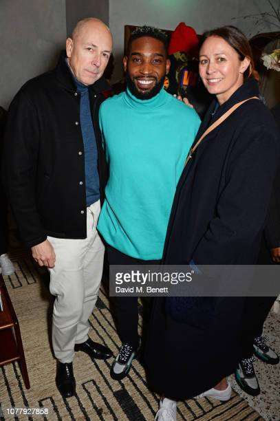 Dylan Jones, Tinie Tempah and Caroline Rush attend a VIP dinner celebrating the What We Wear x Filling Pieces sneaker collaboration during London...
