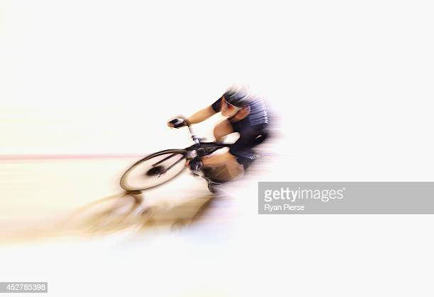 Dylan Kennett of New Zealand races in the Men's 20km Scratch race Qualifying at Sir Chris Hoy Velodrome during day four of the Glasgow 2014...