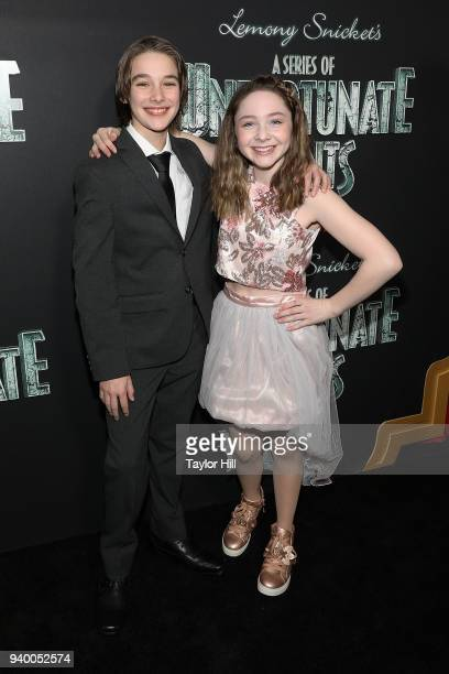 Dylan Kingwell and Kitana Turnbull attend the the Season 2 premiere of Netflix's A Series Of Unfortunate Events at Metrograph on March 29 2018 in New...