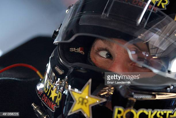 Dylan Kwasniewski driver of the UpUp Chevrolet prepares to drive during practice for the NASCAR Nationwide Series Get To Know Newton 250 Presented By...
