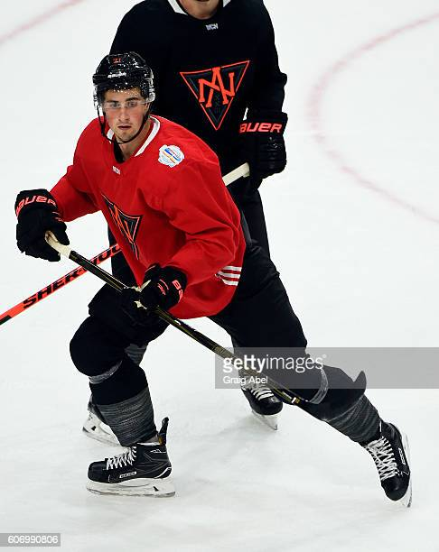 Dylan Larkin of Team North America watches the play develop at practice at the World Cup of Hockey 2016 at Ricoh Coliseum in Toronto Ontario Canada...