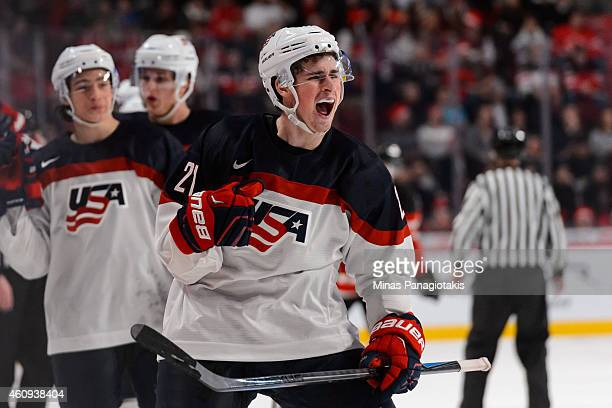 Dylan Larkin of Team United States celebrates his goal in a preliminary round game during the 2015 IIHF World Junior Hockey Championship against Team...