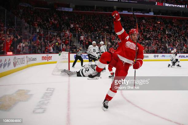 Dylan Larkin of the Detroit Red Wings celebrates his second period goal in front of Jonathan Quick of the Los Angeles Kings at Little Caesars Arena...