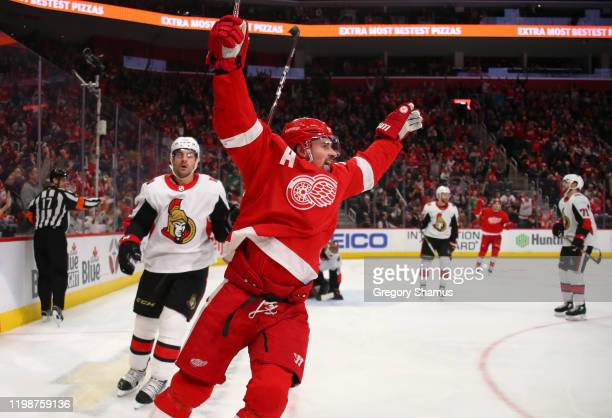 Dylan Larkin of the Detroit Red Wings celebrates his second period goal against the Ottawa Senators at Little Caesars Arena on January 10, 2020 in...