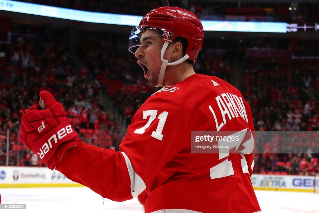 Dylan Larkin #71 of the Detroit Red Wings celebrates his second period goal while playing the Ottawa Senators at Little Caesars Arena on March 31, 2018 in Detroit, Michigan.