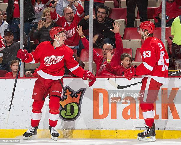 Dylan Larkin of the Detroit Red Wings celebrates his third period goal with teammate Darren Helm during an NHL game against the New York Islanders at...
