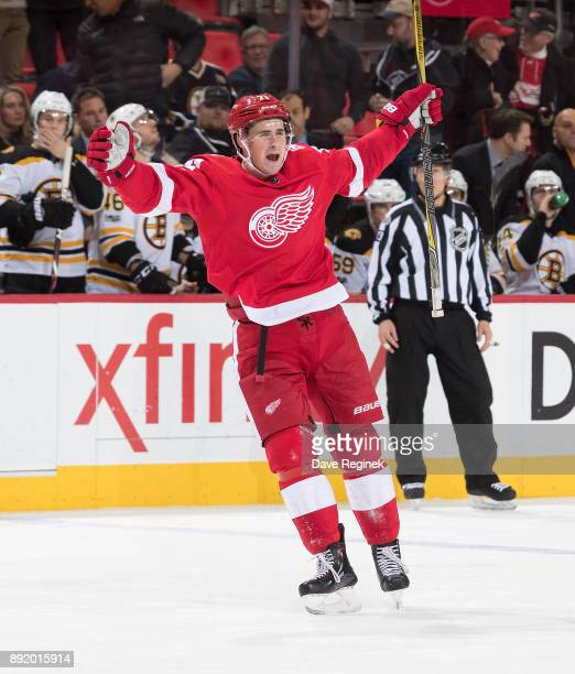 Dylan Larkin of the Detroit Red Wings celebrates his third period goal during an NHL game against the Boston Bruins at Little Caesars Arena on...