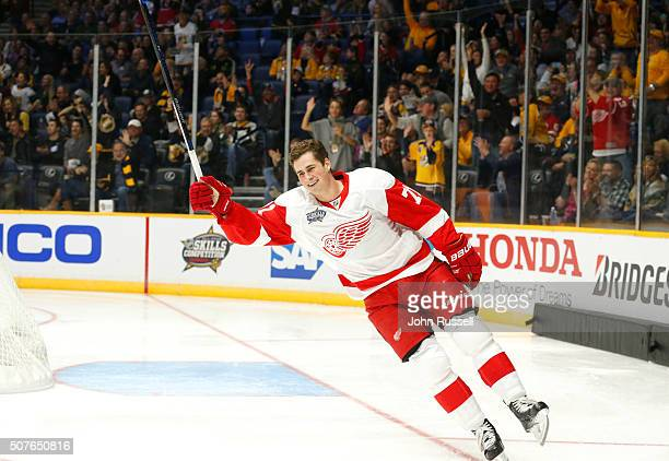 Dylan Larkin of the Detroit Red Wings celebrates with after his second turn in the Bridgestone NHL Fastest Skater competition during 2016 Honda NHL...