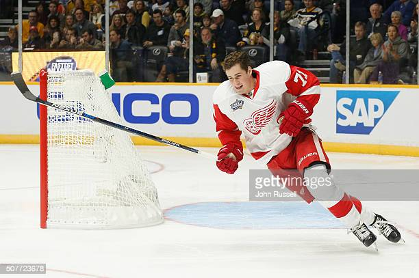 Dylan Larkin of the Detroit Red Wings competes in the Bridgestone NHL Fastest Skater competition during 2016 Honda NHL AllStar Skill Competition at...