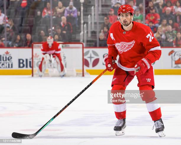 Dylan Larkin of the Detroit Red Wings follows the play against the Chicago Blackhawks during an NHL game at Little Caesars Arena on March 6, 2020 in...