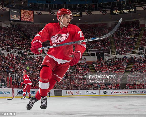 Dylan Larkin of the Detroit Red Wings follows the play during an NHL game against the Dallas Stars at Joe Louis Arena on November 8 2015 in Detroit...