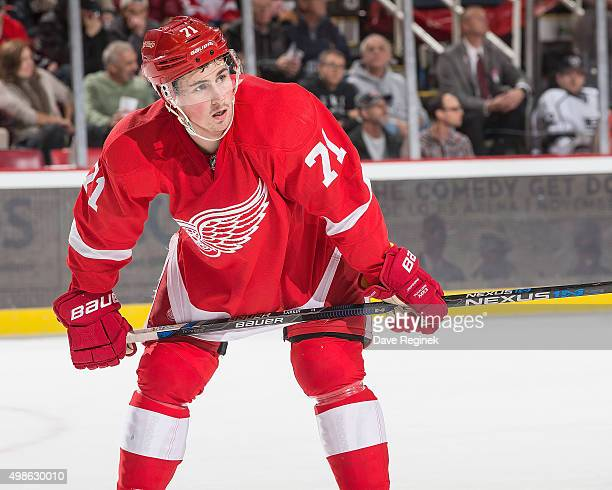 Dylan Larkin of the Detroit Red Wings gets set for the faceoff during an NHL game against the Los Angeles Kings at Joe Louis Arena on November 20...