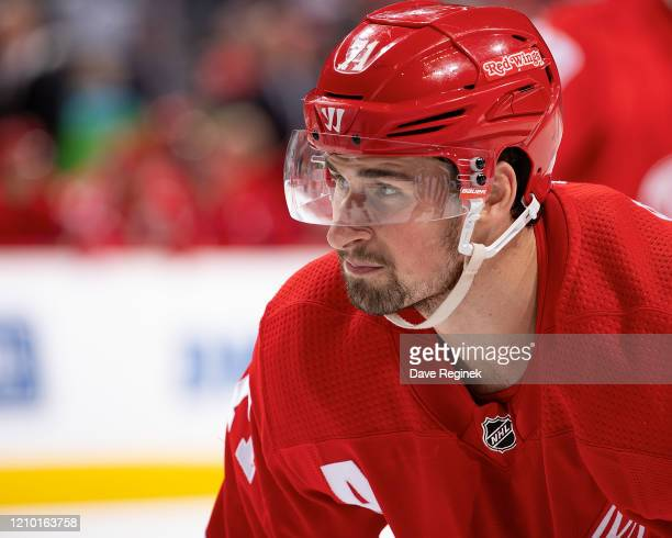 Dylan Larkin of the Detroit Red Wings gets set for the face-off against the Colorado Avalanche during an NHL game at Little Caesars Arena on March 2,...
