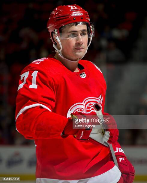 Dylan Larkin of the Detroit Red Wings gets set for the faceoff against the Tampa Bay Lightning during an NHL game at Little Caesars Arena on January...