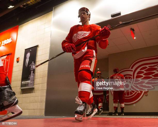 Dylan Larkin of the Detroit Red Wings heads out to the rink for warm ups prior to an NHL game against the Colorado Avalanche at Little Caesars Arena...