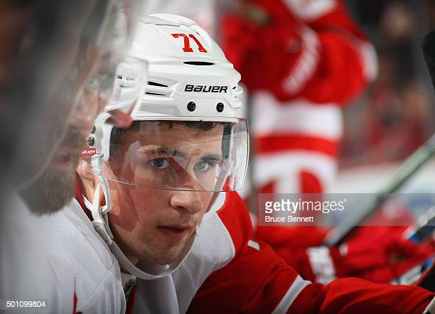 Dylan Larkin of the Detroit Red Wings plays against the New Jersey Devils at the Prudential Center on December 11 2015 in Newark New Jersey The...