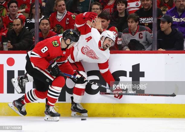Dylan Larkin of the Detroit Red Wings reacts after being slashed on the wrist by Dominik Kubalik of the Chicago Blackhawks at the United Center on...