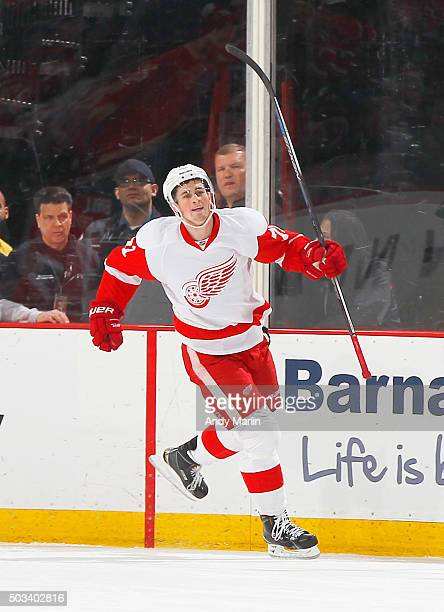 Dylan Larkin of the Detroit Red Wings reacts after scoring a firstperiod goal against the New Jersey Devils during the game at the Prudential Center...