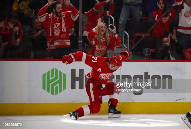 Dylan Larkin of the Detroit Red Wings reacts to his game winning overtime goal to beat the Nashville Predators 43 at Little Caesars Arena on January...