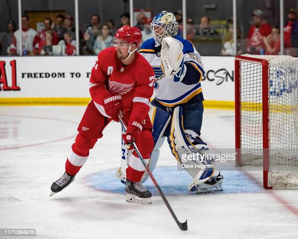 Dylan Larkin of the Detroit Red Wings sets up in front of Jordan Binnington of the St Louis Blues in the third period during a preseason Kraft...