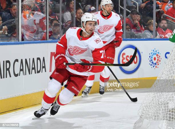 Dylan Larkin of the Detroit Red Wings skates during the game against the Edmonton Oilers on November 5 2017 at Rogers Place in Edmonton Alberta Canada