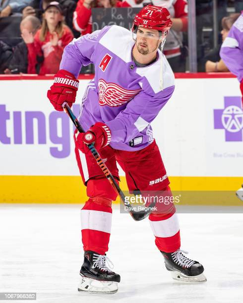 Dylan Larkin of the Detroit Red Wings skates in warm-ups with his custom Hockey Fights Cancer jersey prior to an NHL game against the Arizona Coyotes...