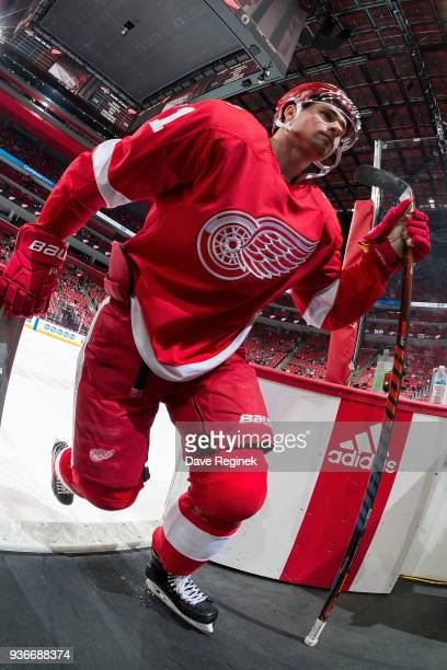 Dylan Larkin of the Detroit Red Wings steps off the ice following warmups prior to an NHL game against the Washington Capitals at Little Caesars...