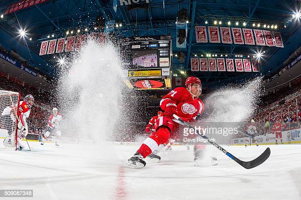 Dylan Larkin of the Detroit Red Wings stops and follows the play during an NHL game against the Florida Panthers at Joe Louis Arena on February 8...