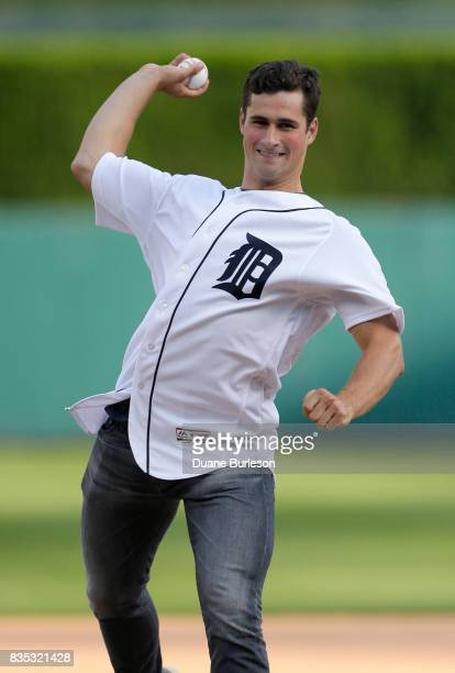 Dylan Larkin of the Detroit Red wings throws out a ceremonial first pitch before the Detroit Tigers game against the Los Angeles Dodgers at Comerica...