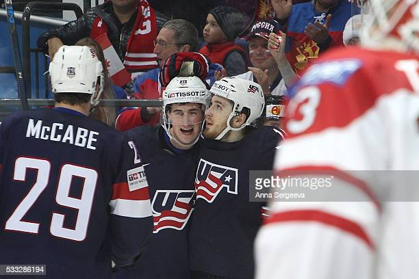 Dylan Larkin of USA Tyler Motte and Jake McCabe of USA celebrate second period goal of Auston Matthews against Canada at Ice Palace on May 21 2016 in...